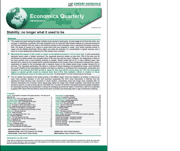 Economic quarterly of Credit Agricole - Corporate & Investment Bank