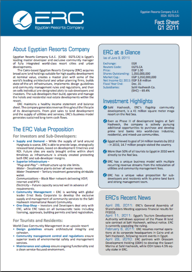 ERC Fact Sheet - Q1 2011