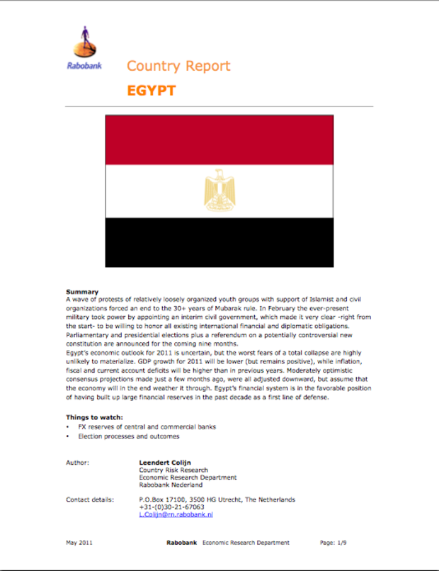 Country Report: Egypt - May 2011
